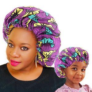 2 개 / 세트 엄마와 나 새틴 보닛 조정 더블 레이어 수면 캡 부모와 아이 아프리카 인쇄 터번 헤어 커버 아기 모자