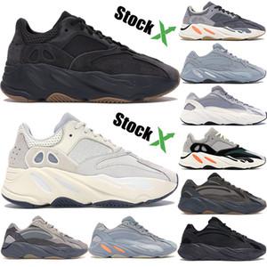 Avec Kanye West Box Designer Shoes Hospital gris bleu solide utilitaire noir course pour homme Sneakers statique 700 Baskets confortables