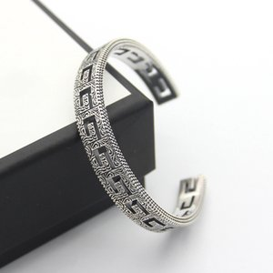 Titanium steel jewelry hollow g-letter pattern opening Bracelet lovers square g-word Arabic engraved pattern Bracelet