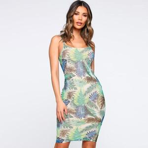 Sommer-Frauen mit Blumenmustern Kleider Sexy Damen-Spaghetti-Bügel Bohemian Kleid beiläufiger Urlaub ärmelloses Kleid