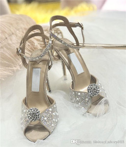 Womens high heel sandals dress shoes inlaid with imported rhinestones exquisite gorgeous dress wedding party sandals With original shoe box