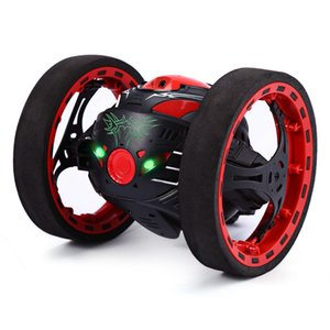 Mini Cars Bounce Car PEG SJ88 2.4GHz RC Car with Flexible Wheels Rotation LED Light Remote Control Robot Toys for Gifts re