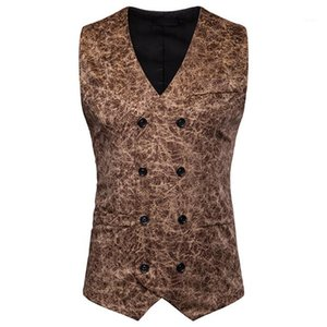 Mens Outerwear With Button Male Clothing Leopard Mens Suit Vests Sleeveless Casual
