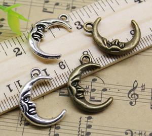 Ciondolo in lega di luna ciondolo gioielli retrò portachiavi fai da te argento antico / bronzo per orecchini braccialetto 22x15mm