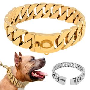Super Strong Dog Chain Collar Pet Slip Choke Collar Silver Gold Stainless Steel Chian for Medium Large Dogs Pitbull Bulldog