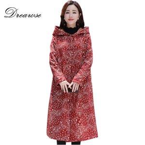 Dreawse Donne più velluto stile nazionale retrò allentato Wadded cotone spesso incappucciato floreale lungo cappotto caldo Manteau Femme Hiver MZ3310