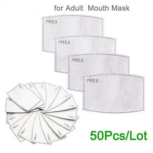 PM2 .5 carta da filtro Anti Haze bocca maschera antipolvere Maschera filtro a carboni attivi in ​​documento Stock 50pcs / Lot