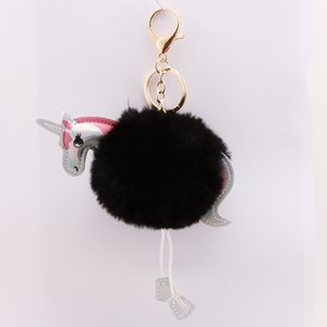 Hot Anime Horse Toy Cute Leather Unicorn Keychain Plush Toy Pendant Women Fluffy Fur Pom Plush Toy BT21 Peluche