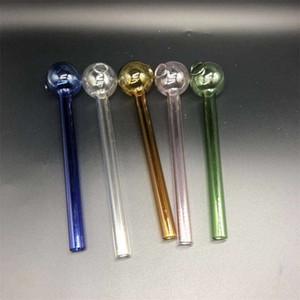 Travel Oil Burner Pipe Transparent Tube Pyrex Glass Smoking Pipes Bongs Colorful Tobacco Handpipe Smoke Gadgets 10cm Length 1 8ps E19