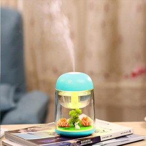 1pcs Micro-landscape aromatherapy humidifier Simulation plant night light Used to increase humidity in the home Blue Green Pink Yellow