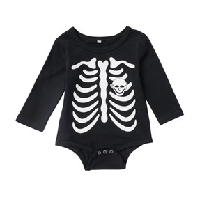Autumn Newborn Baby Boy Girls Long Sleeve Clothes Baby Boy Girls Black Cotton Jumpsuit Halloween Skull Romper Jumpsuit Outfit