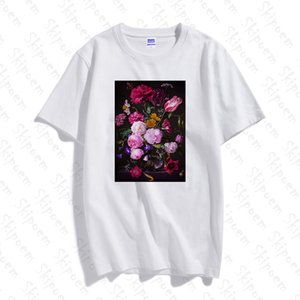 Arte classica Fiore Donne maglietta punk estetica Tumblr Plus Size manica corta in cotone T superiori Skipoem Tee Shirt Femme