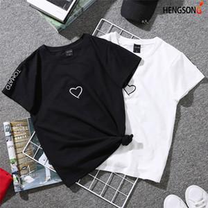 T-shirt femmes T-shirt ras du cou d'été 2019 Couples Lovers pour les femmes blanc Casual Hauts T-shirt Love Heart broderie Imprimer Femme