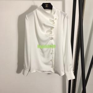 высокого класс женщин девушка рубашки жемчуг однобортный pleate деталь v-образный вырез с длинным рукавом тройника блузки взлетно-посадочной полосой моды роскошного дизайна шелка стиля