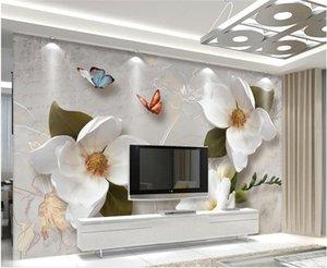 사용자 정의 3D 벽 벽화 벽지 유럽 스타일 레트로 꽃 나비 벽지를 들어 거실 TV 배경막 벽 벽화