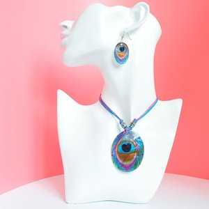 Collier Shell Pendentif boucles d'oreilles bijoux colorés corde Shell long collier pendentif crochet Goutte Boucles d'oreilles Bohème Party Set bijoux de mariage