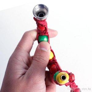 Boru 3 Renkler Sigara Taşınabilir Metal Bilezik Sigara Boru 280mm Şık Stealth Borular Herb Tütün Boru El yapımı Kenevir Halat Boncuk