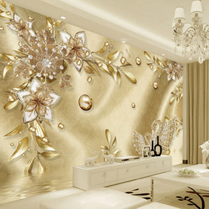 European Style Luxury Golden 3D Flower Jewelry Damascus Pattern Background Decoration Mural Wallpaper For Living Room Home Decor