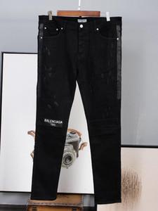 Moda de lujo para hombre arrancó BBA biker Jeans de cuero Slim Fit negro Moto Denim Joggers para pantalones de Jeans masculinos tamaño estándar americano europeo