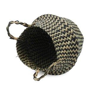 Bitki Lif Rattan Çiçek Sepeti Saksı Sepet Siyah Katlanabilir Seagrass Basket Çamaşır R Ev Bahçe Dekor Saksılar