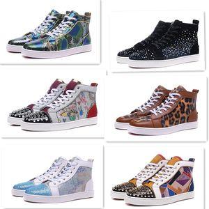 Femmes Hommes de luxe de haut plat occasionnel coloré Qualité Spikes haut Red Top Bas Pik Pik clouté Chaussures Sneakers