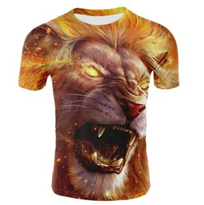 Herren Tops 2019 Sumer Lion 3D Herren T-Shirt Fashion Animal Print T-Shirt Herren Casual Cat Kurzarm T-Shirt Homm