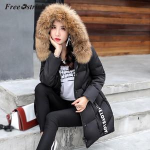 Свободный страус 2019 Нового Parka женских зимних пальто Женщины Длинного Повседневная меховые куртки с капюшоном Теплых ветровок Женской Шинелью пальто N30