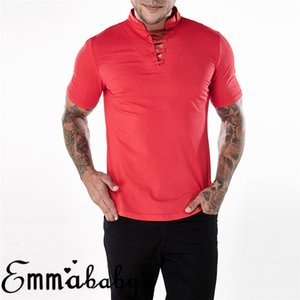Sólido Criss masculino camiseta homens Slim Fit T-shirt de manga curta Pescoço V Lace Up Tops Casual Tees New Autumn