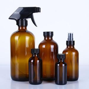 Spray garrafas de vidro âmbar Essencial Dispenser Oil Cosmetic Limpeza Container Com pulverizador de gatilho