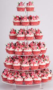 Vidro Acrílico De 6 Camadas Redondo De Bolo De Casamento Stand-Cupcake Stand Tower/Stand De Sobremesa Stand-Pastelaria Ao Serviço De Platter-Food Display Stand (Grande