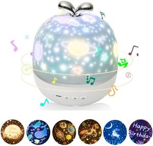 Projecteur Night Light avec Music Box et 6 Films Projection 360 Rotation Starry Sky lampe de projecteur pour les enfants Chambre Décor de nurserie cadeau Xmax