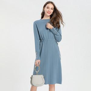 Pop2019 Vestido de mujer y patrón Overknee Temperamento de punto Fondo largo Rendering Sweater Skirt Factory