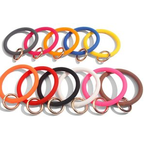 Silicone O Bracelet Keychain For Women Gift Circle Bracelet Keychain Wrist Keyring Colorful Bracelet Keychains party favor KKA7932