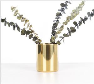 Nordic Golden Vase ، منظم مكتب فارز مجموعة حامل القلم من الفولاذ المقاوم للصدأ ، منظم زهرة الذهب ، مصنوعات معدنية من الحلي