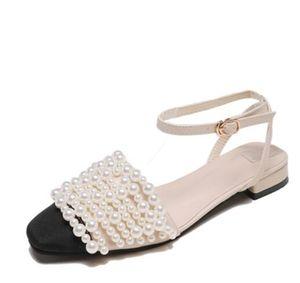 Kadın Yaz Inci sandalet klasik moda marka Seksi Hakiki Deri Yumuşak plaj ziyafet kadınlar Dantel-up boncuklu dikiş sandalet