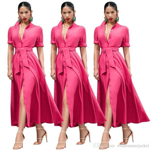 Summer Designer Women Dress Fashion Solid Color Ribbon Mid Sleeve Long Dresses Women Dress