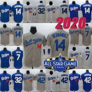 14 Enrique Hernandez LA 2020 Baseball Jerseys 2020 All Star Game Patch 7 Julio Urias 42 Jackie Robinson 32 Sandy Koufax 21 Walker Buehler