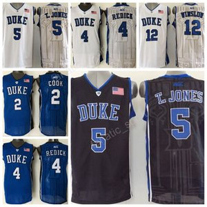 College Duke Blue Devils Camisetas 4 Jj Redick 5 Tyus Jones 12 Justise Winslow 2 Quinn Cook Camisetas de baloncesto Bordado Azul Blanco