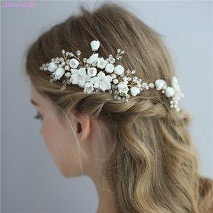 Jonnafe delicada joyería del pelo de la boda de porcelana peine del pelo nupcial de la flor hecha a mano pernos Mujeres Prom Celada T191026