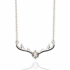 Unique chain  ladies necklace s925 standard silver fashion creative animal deer necklace antler collarbone chain