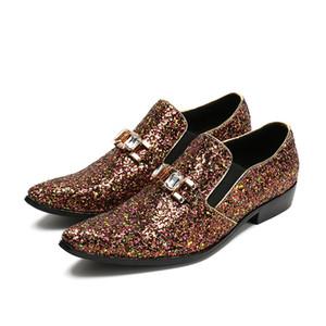 New Glitter Men Dress Shoes Diamond Smoking Slippers Scarpe da uomo Paillettes di lusso da uomo Fatti a mano da sposa Mocassini da discoteca