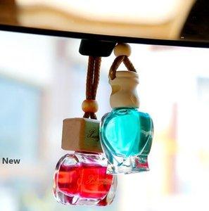 Botella de cristal de perfume de la forma del corazón del gato botellas transparentes vacíos coche colgante pendientes de ambientador de aire Aceites Esenciales Difusores GGA2891