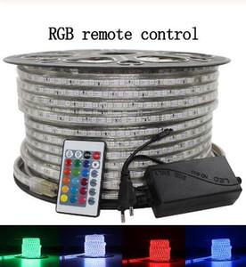 50M 110V / 220V Yüksek Voltaj SMD 5050 RGB LED Şeritler LED Şeritleri 20m Uzaktan Kumanda + Güç Kaynağı Su geçirmez + IR Işıklar