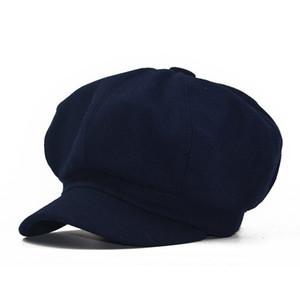 2020 octogonal sombrero de otoño e invierno masculina boina estilo retro británico sombrero de pintor de lana de color sólido dama de la moda