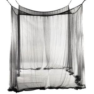4 esquineros cama con dosel dosel Mosquitera completa reina cama extragrande Red Negro Ropa de cama Decoración tienda de campaña para la cama