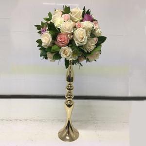 Mumluklar Altın Mumluklar 50 cm Çiçek Vazo Şamdan Düğün Dekorasyon Masa Centerpieces Çiçek Raf Yol Kurşun