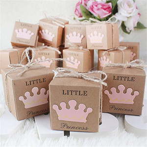 Little Prince Princesa Baby Shower Favor Boxes + Twine Bow Rustic Kraft Paper Candy Caixa Saco do presente por Baby Shower Party Supplies aniversário bonito