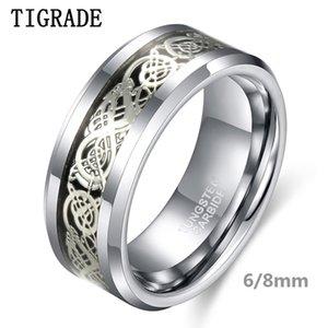 ewelry Zubehör Tigrade 6 / 8mm Männer Silber-Farben-Hartmetall-Ring Luxuxhochzeits-Band-Drache Inlay Fashion Jewelry Comfort Fit ein ...