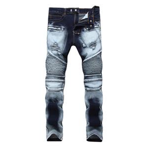 Buracos Men High Street Magro estiramento Jeans Zipper Dois tom branco fosco plissadas calças masculinas Jeans