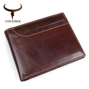 Cowather 2019 100% Top Layer Cow Leather Men Wallets Cross Style Wallet New Desgin Leather Rfid Male Purse J8104 Free Shipping Y19052104
